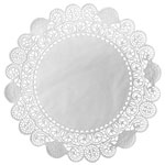 "Duni 6"" Round French Lace Doilies, White"