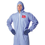 Dupont Tempro Elastic-Cuff Hooded Coveralls, Blue, Extra-Large, 25/Carton