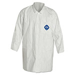 Dupont Tyvek Lab Coat, White, Snap Front, 2 Pockets, Medium
