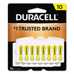 Duracell Button Cell Hearing Aid Battery, #10, 16 per Pack