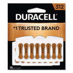 Duracell Button Cell Hearing Aid Battery #312, 16 per Pack