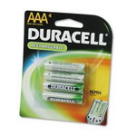 Duracell DC2400B4N Rechargeable NiMH Batteries, 850mAH, AAA Size, 4 Batteries per Pack