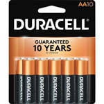 Duracell Coppertop Alkaline Batteries, AA, 10/Pack