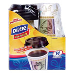 Dixie 12 Oz Hot/Cold Paper Cups, Coffee Design, Pack of 14