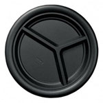 "Dixie Disposable 10.25"" Plastic Plates, Black, Pack of 25"