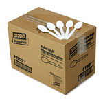 Dixie Medium-Weight White Plastic Teaspoons, Carton of 1000