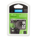 "Dymo D1 Tape Cartridge for Electronic Label Makers, Black on White, 1/2"" w x 18 ft."