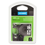 "Dymo D1 Tape Cartridge for Electronic Label Makers, Black on White, 3/4"" w x 18 ft."