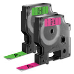 "Dymo D1 High-Performance Polyester Perm Label Tape, 1/2"" x 10 ft, Black on Neon, 2/PK"