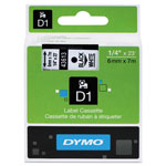 "Dymo D1 Tape Cartridge for Electronic Label Makers, Black on White, 1/4"" w x 23 ft."