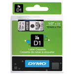 "Dymo D1 Tape Cartridge for Electronic Label Makers, Black on Clear, 1/2"" w x 23 ft."