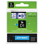"Dymo D1 Tape Cartridge for Electronic Label Makers, Blue on Clear, 1/2"" w x 23 ft."