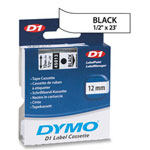 "Dymo D1 Tape Cartridge for Electronic Label Makers, Black on White, 1/2"" w x 23 ft."