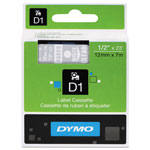 "Dymo D1 Tape Cartridge for Electronic Label Makers, White on Clear, 1/2"" w x 23 ft."