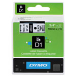"Dymo D1 Tape Cartridge for Electronic Label Makers, Black on White, 3/4"" w x 23 ft."