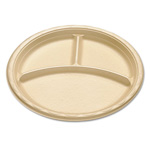 "Dispoz-O enviroware Foam Dinnerware, 3-C Plate, 10"", Wheat"