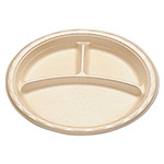 "Dispoz-O Enviroware Tableware, 3 Compartment Plate, Round, 9"" Dia, White"