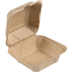 "Bridge-Gate Hinged Food Container, 6"", Natural"