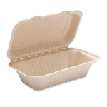 Bridge-Gate Hoagie Hinged Food Container, Natural