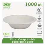 Eco-Products EPBL12 Natural White Tree-Free Compostable Bagasse Bowls, 12 Ounces