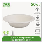 Eco-Products Compostable Sugarcane Dinnerware, 12 oz. Bowl, Natural White, 50/Pack