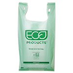 Eco-Products Plastic Grocery Bags, 10 gal, Green, 500/Carton