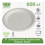 "Eco-Products Disposable 9"" Paper Plates, White, Case of 500"