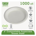 "Eco-Products Compostable Sugarcane Dinnerware, 6"" Plate, White"