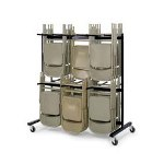 "Safco Chair Cart, Double Tier, Holds 84 ,65-1/4"" x 33-1/2"" x 69-3/4"", Black"