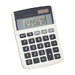 "Compucessory 02188 8 Digit Angled Display Calculator, Dual Power, 3 7/8""x5""x3/4"""