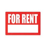"Advantus For Rent Sign, Weather Resistant, 8""x12"", Red/White"
