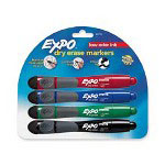 Expo® Marker with Eraser and Chisel Tip, Assorted