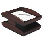Eldon Executive Woodline II Front Loading Double Desk Tray, Mahogany Finish, Legal