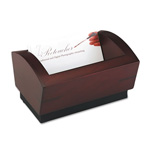 Eldon Executive Woodline II Business Card Holder, Holds 100 Cards, Mahogany