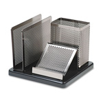 Eldon Distinctions Punched Metal and Wood Desk Organizer, Polished Metal/Black Wood