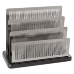 Eldon Distinctions Punched Metal & Wood Mini Sorter, Polished Metal/Black Wood