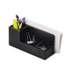 Eldon Wood Tones Desk Organizer, 4 Compartments, Black