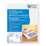 "Elite Image White Laser/Inkjet Name Badge Labels, 3 3/8"" x 2 1/3"""