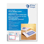 "Elite Image White Laser/Inkjet Name Badge Labels with Red Border, 3 3/8"" x 2 1/3"""