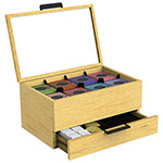 Mind Reader Tea Condiment and Accessory Organizer, Blonde Wood/Glass, 13 1/5x4 2/5x10 2/5
