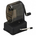 Elmer's Manual Vacuum Mount Pencil Sharpener, Smoke Black Receptacle, Black Base