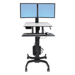 Ergotron WorkFit-C Sit-Stand Workstation With Cart, 36 1/2 x 32 1/4 x 44 1/2h, Black/Gray