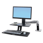 Ergotron WorkFit-A Sit-Stand Workstation w/Suspended Keyboard, Single HD, Black