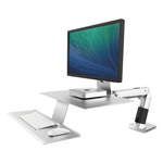 Ergotron WorkFit-A Sit-Stand Workstation With Suspended Keyboard, Silver