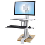 Ergotron WorkFit-S Sit-Stand Workstation w/Worksurface+, LCD HD Monitor, White