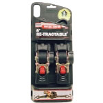 "Erickson Manufacturing 2 Pack 1"" X 6' Retractable Ratcheting Tie Down Straps"