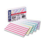 "Pendaflex Index Cards, Ruled With Color Bars, 3""x5"", 100/Pack, Assorted"