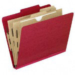 "Esselte Classification Folder with Pockets, Letter, 2"" Expansion, 10/Box, Red"