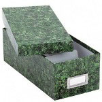 Pendaflex Reinforced Board 3 x 5 Card File with Lift Off Cover, Green Marble