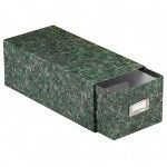 Pendaflex Reinforced Board 4 x 6 Card File with Lift Off Cover, Green Marble